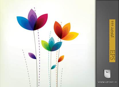 دانلود وکتور گل های رنگی