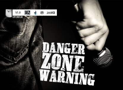 فونت لاتین danger zone warning